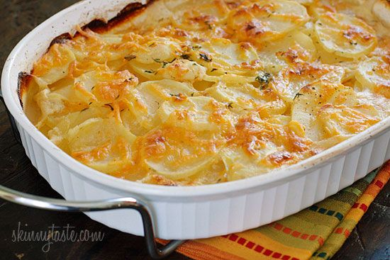 Skinny Scalloped Potato Gratin - This is one of those dishes that exceeded my expectations, you can use red potatoes or new potatoes, but I really love the buttery texture of yukon gold.