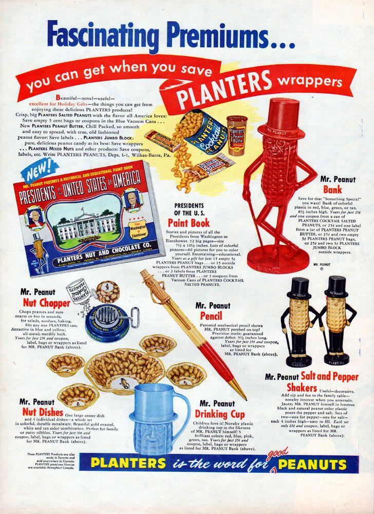 1955 Planters Peanuts ad -Mr. Peanut Toys ad-- Premiums  -Mr. Peanut Bank -l-299