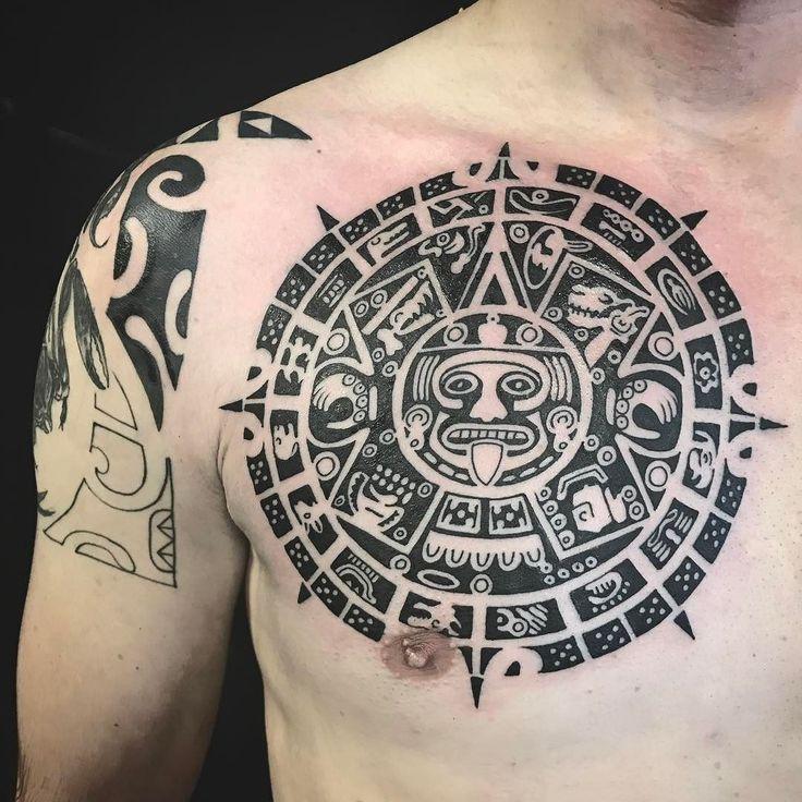 Polynesian chest piece. Part of Mayan calendar. #tattoo #polynesiantattoo #polynesiantattooschest