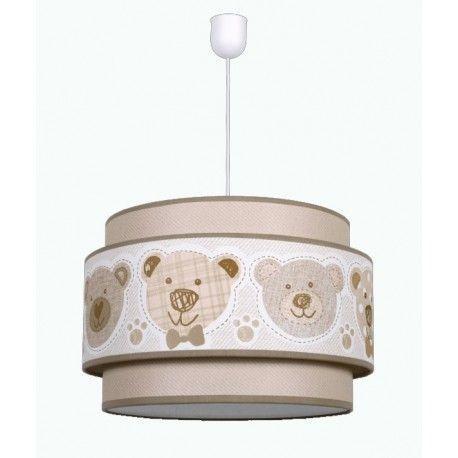 lmpara de techo colgante infantil de la coleccin panda realizada en metal y tela