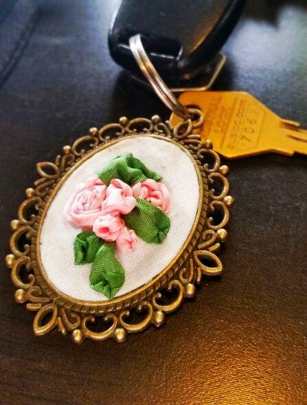 Silk ribbon embroidered pendant. http://caffeinatedkitten.wix.com/crafts