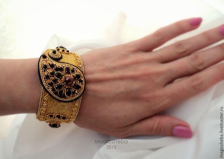 Купить Браслет золотой, вышитый золотом - золотой, золотой браслет, вышитый браслет, браслет
