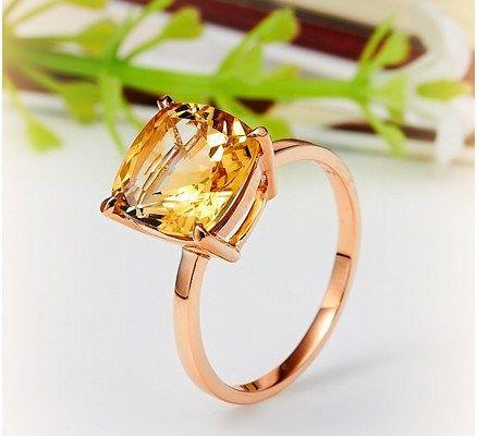 Romantic 4ct Citrine Ring 14K Rose #Gold #Engagement_Ring $640 CAD