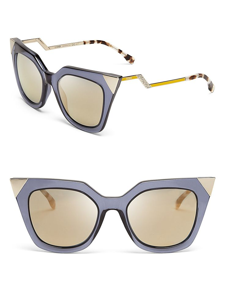 Fendi Mirrored Geometric Sunglasses, 52mm