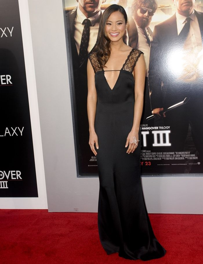 Jamie Chung in an Armani dress and a Gaydamak hand bracelet at the premiere of 'Hangover III' in Los Angeles on May 31, 2013