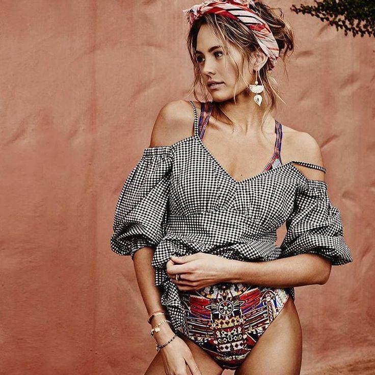 @jesinta_campbell wears our #SeedHeritage 'Gingham Top for @okmagaustralia. @mayawyszynsk #seed #instagrami
