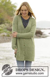 """Weekend Walk - Knitted DROPS jacket with vents in the sides in """"BabyAlpaca Silk"""" and """"Kid-Silk"""". Size: S - XXXL. - Free pattern by DROPS Design"""