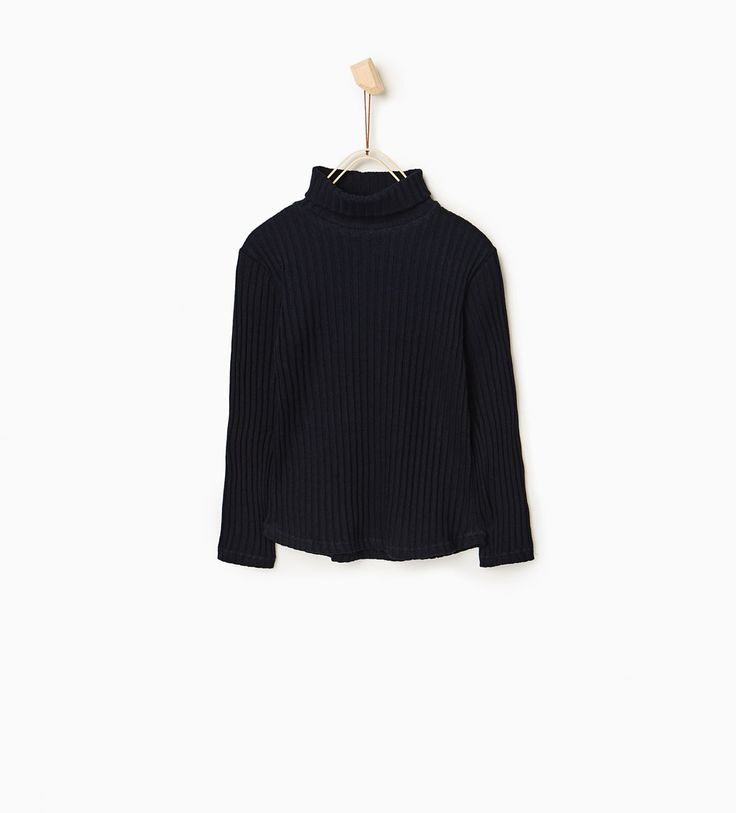 RIBBED POLO NECK TOP from Zara
