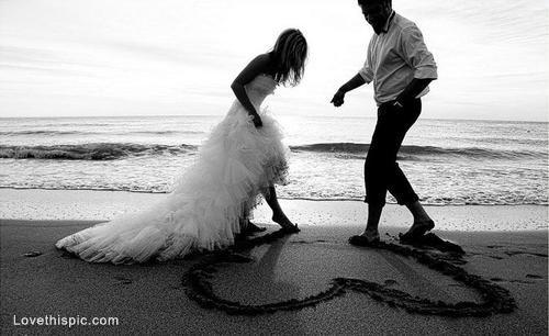 Beach wedding heart love cute photography wedding couples beach ocean