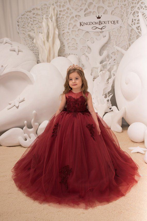 c180b3b24bbae Maroon Flower Girl Dress - Birthday Wedding party Bridesmaid Holiday Maroon  Lace Flower Girl Dress 2