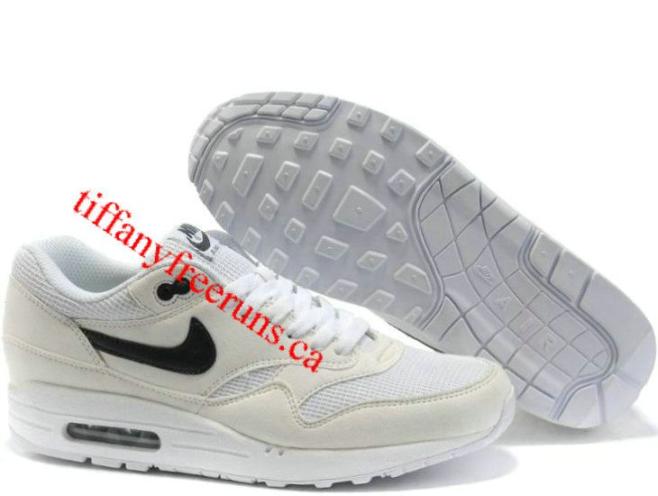 Mens Nike Air Max 1 White Black Black Shoes