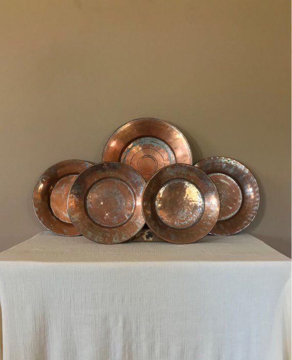 Set 5 Antique Copper Plates Copper Plates Copper Kitchen Decor Copper Wall Antique Copper Dec Copper Kitchen Decor Copper Wall Art Copper Wall Decor
