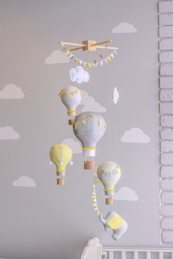 Yellow And Grey Gender Neutral Nursery Mobile Hot Air Balloon Baby Elephant Travel Theme Circus Decor