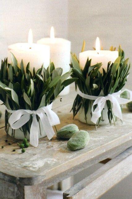 Candele: centrotavola originale fai da te. Candele decorate con foglie fresche…