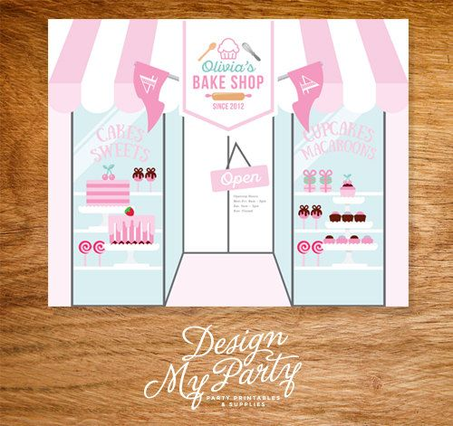 Bake Shop Buffet Backdrop Banner Personalised by DesignMyPartyShop