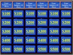 This site has my favorite PowerPoint review game templates. One of the things that makes them great is that they come with sound files! Cash Cab, Who Wants to be a Millionaire and Jeopardy!