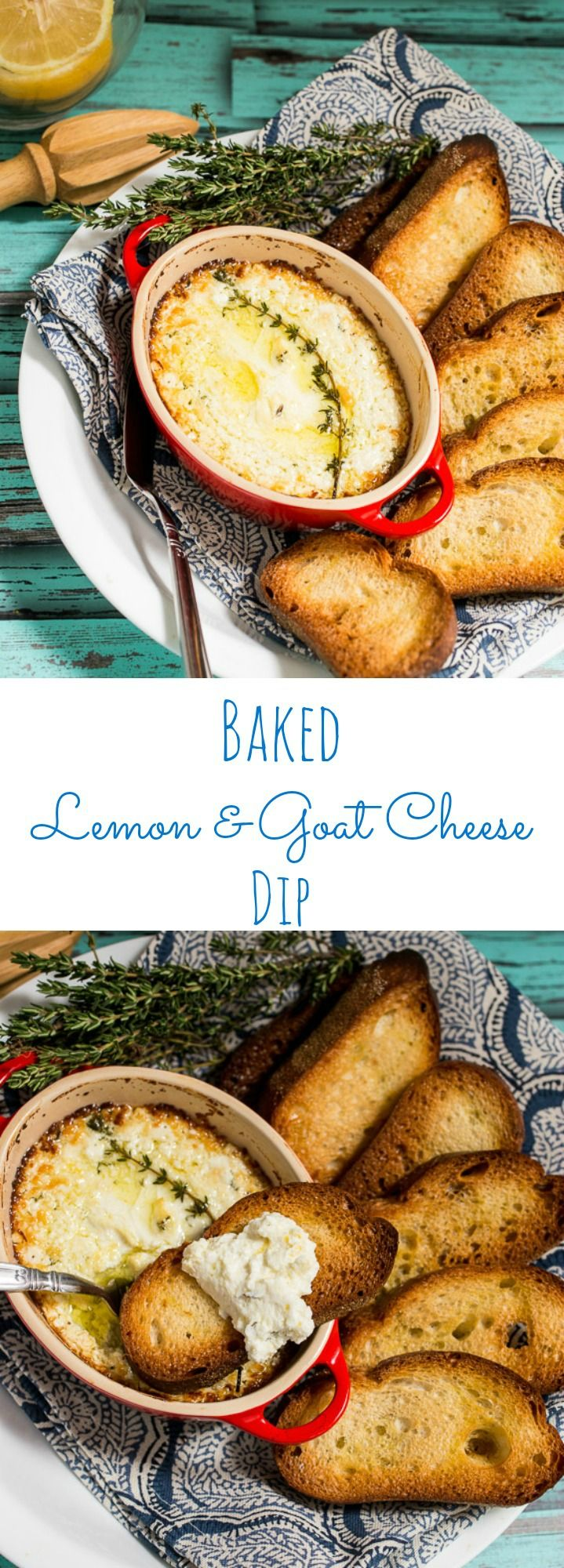 Baked Lemon and Goat Cheese Dip #SundaySupper| girlinthelittleredkitchen.com