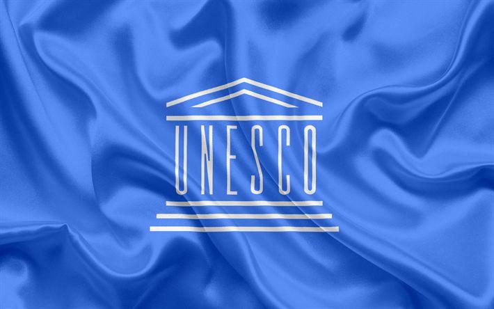 Lataa kuva UNESCON Lippu, symbolit, tunnus, logo, UNESCON, Yhdistyneiden Kansakuntien Kasvatus -, Tiede-ja kulttuurijärjestön, sininen silkki lippu, Flag UNESCON
