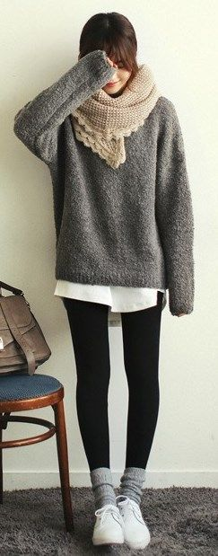 Oh the comfort of an oversized sweater. :) I love mine