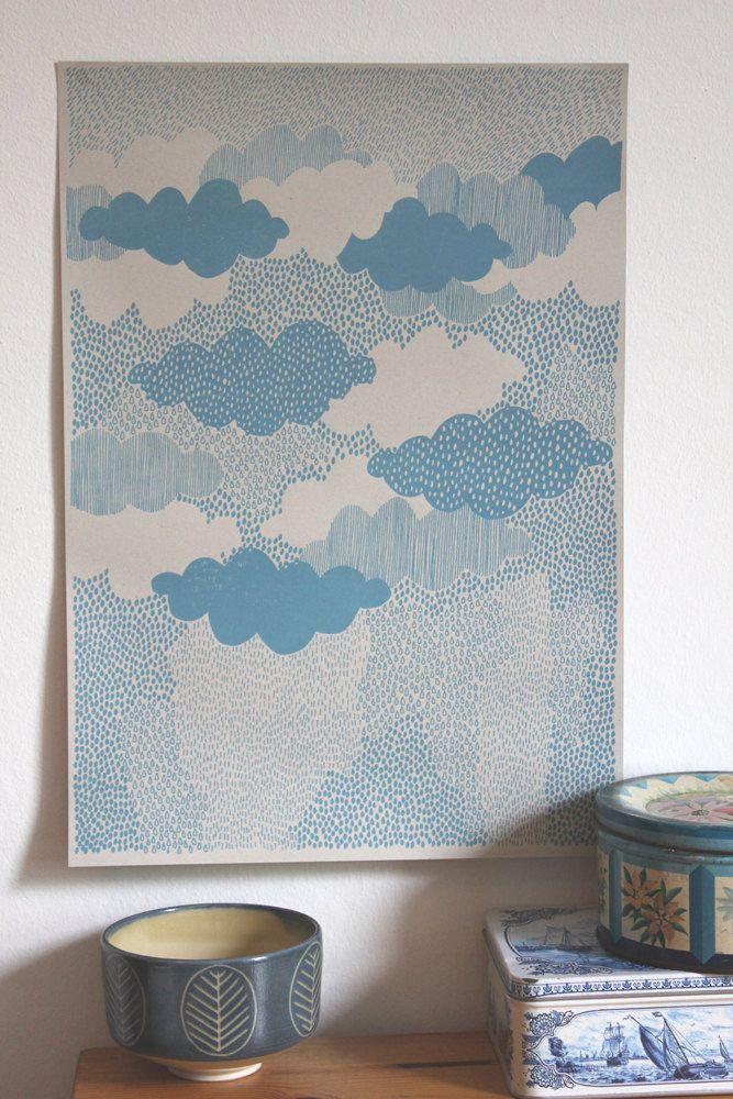 Rain Screen Print by LouiseSmurthwaite on Etsy