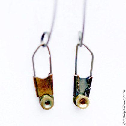 серебряные серьги с титановой подвеской - висюльки,серьги,Серьги-висюльки