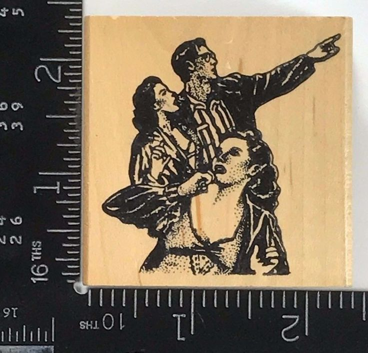 Ken Brown Rubber Stamp People Looking at the Sky Man Woman Vintage Rare HTF T251 #KenBrownStamps