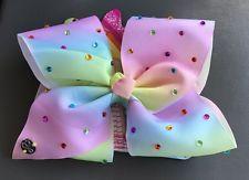 Jojo Siwa Rhinestone Pastel Rainbow Big Hair Bow Multi Color Cheer Dance Pageant