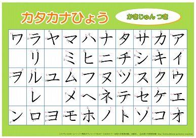A4版 カタカナ表(書き順つき)