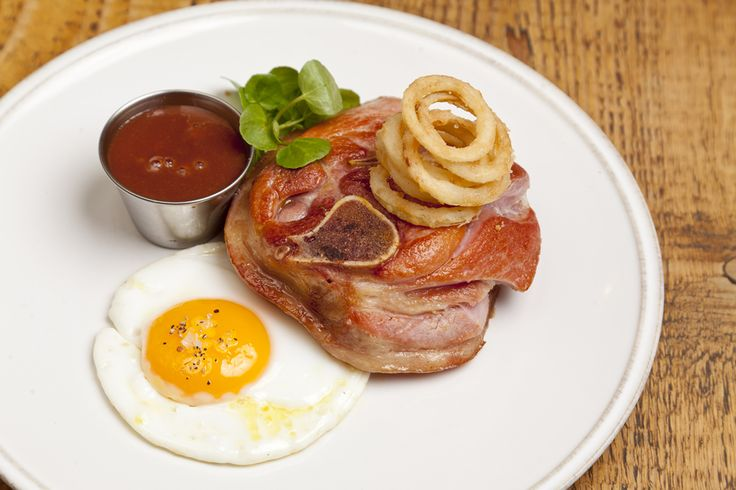 Gammon Osso Buco with Fried Duck Egg and Pickled Onion Rings