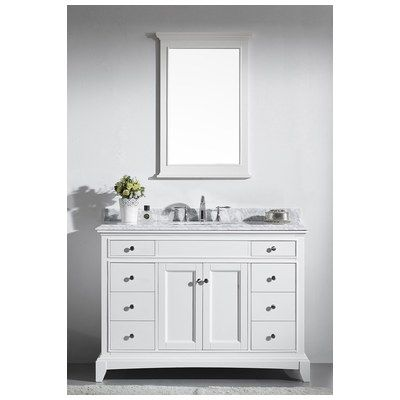 Photo Gallery For Website Eviva Elite Stamford White Solid Wood Bathroom Vanity Set with Double OG White Carrera Marble Top White Undermount Porcelain Sink EVVN WH