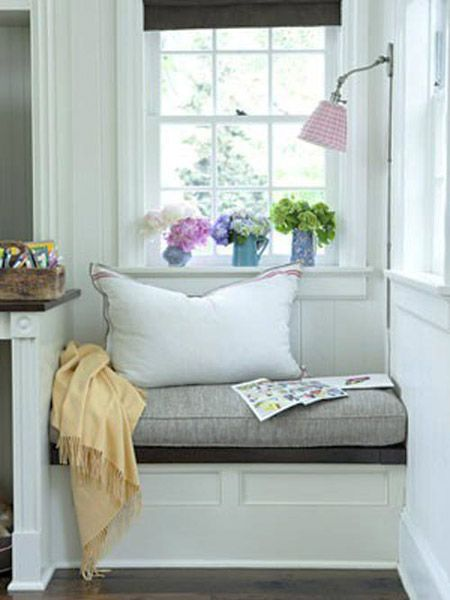 small window seat in window nook