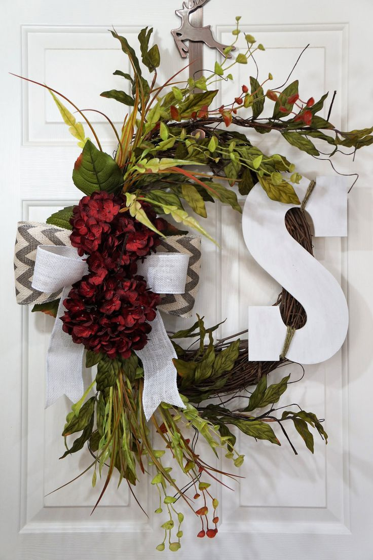 Dark Red Hydrangea Wreath-Chevron Wreath-Monogram Wreath-Housewarming Wreath-Easter Gift-Spring Wreath-Front Door Wreath by WreathdesignsbyJulma on Etsy