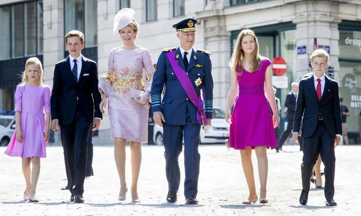 The Belgian royal family (from left to right) Princess Eleonore, Prince Gabriel, Queen Mathilde, King Philippe, Princess Elisabeth and Prince Emmanuel turned out in style for their country's National Day on July 21.    Photo: Patrick van Katwijk/Getty Images