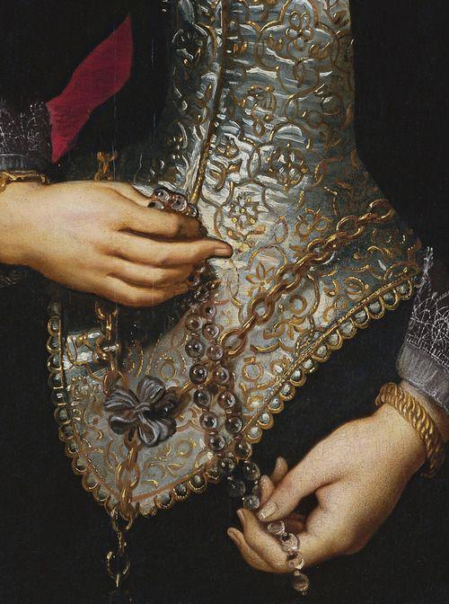 Portrait d'une jeune femme avec un chapelet (Détail) Pierre Paul Rubens 1609