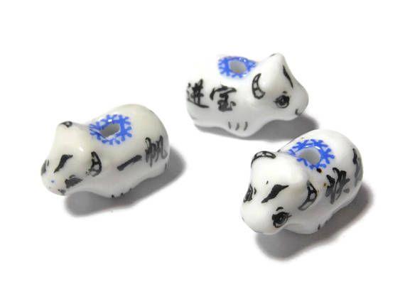 $2 Porcelain cow beads 3 piece lot Japanese Kanji alphabet on #supplies, #beading, #jewelry, #diy,#Kawaii