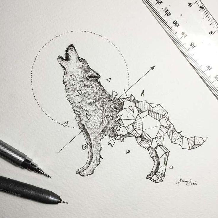 Sketchy Stories \u2013 Les jolis animaux géométriques de Kerby Rosanes.  DessinsAnimaux GéométriquesTatouage Loup24
