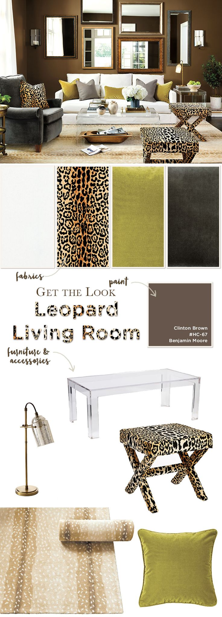 Get the Look of this chic, brown living room with leopard accents