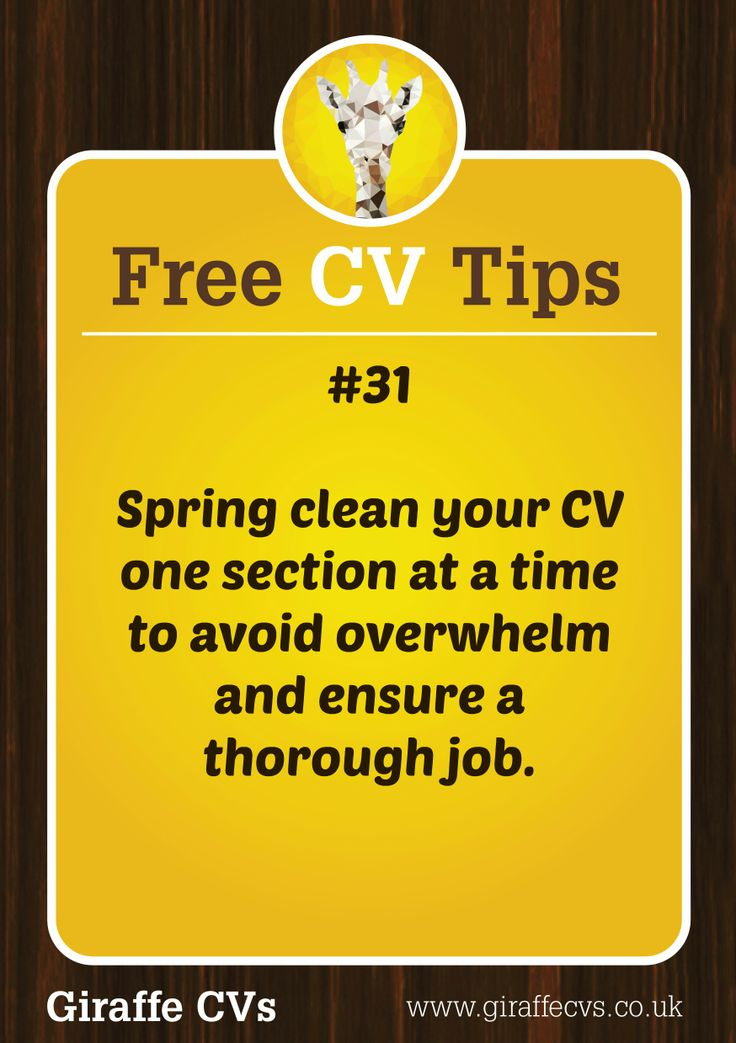 Free CV Tip 31 Spring Clean Your One Section At A Time To Avoid Overwhelm And Ensure Thorough Job