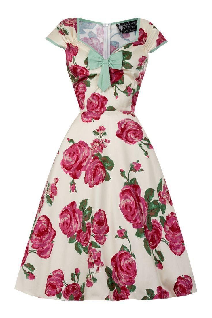 De fedeste 50er kjole pink roser på creme baggrund 50 Modetøj til Damer i dejlige materialer