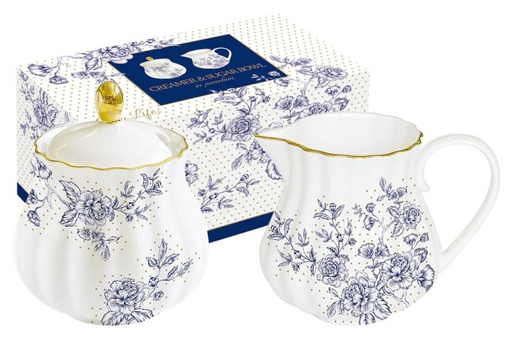 Набор: сахарница и молочник из фарфора «Голубые пионы»      Бренд: Easy Life (Nuova R2S) (Италия);   Страна производства: Китай;   Материал: фарфор;   Объем молочника: 200 мл;   Объем сахарницы: 200 мл;          #tea #porcelain #фарфор #посуда #чай