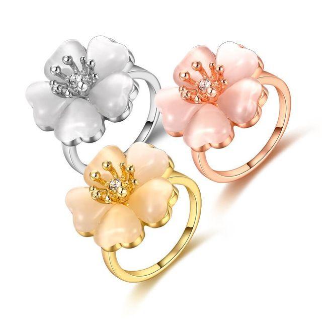 Новые позолоченные ювелирные изделия кольцо классический в форме цветка rhinestone обручальное кольцо замужних женщин Романтические Рождественские Подарки