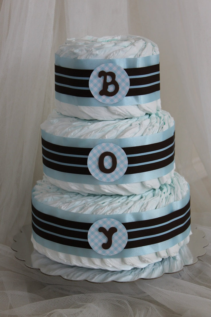 Baby boy diaper cake in blue and brown.