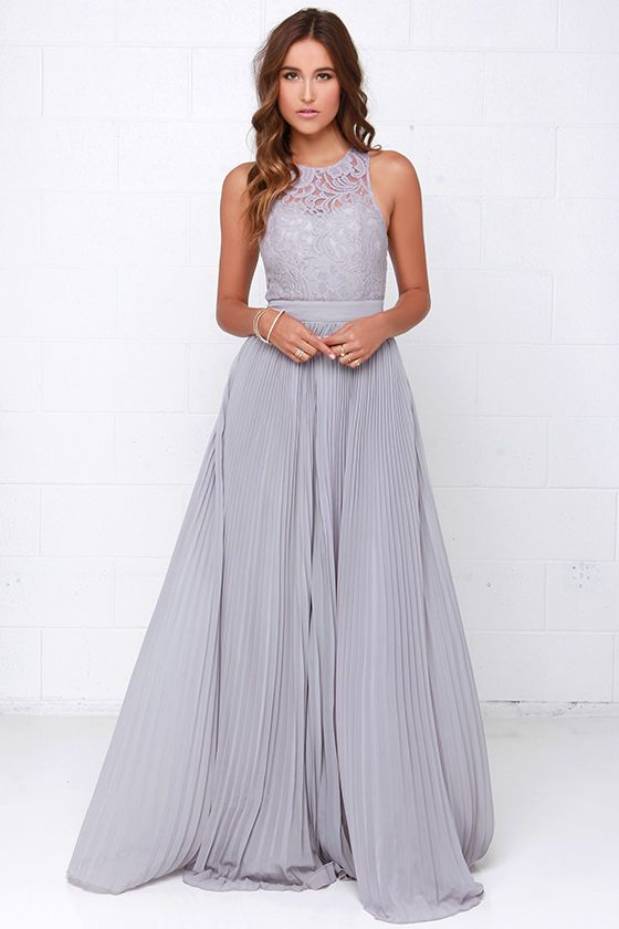 Lulus Exclusive! You won't have to think twice when it comes to spending a special evening in the Say You Will Grey Lace Maxi Dress! Sheer grey lace swirls through the sleeveless bodice shaping a sweetheart silhouette, and open back below a row of button closures at the neck. Matching Georgette fabric bands the waist before falling to a full length, accordion pleated maxi skirt. Hidden back zipper with clasp. Fully lined. 100% Polyester. Hand Wash Cold.