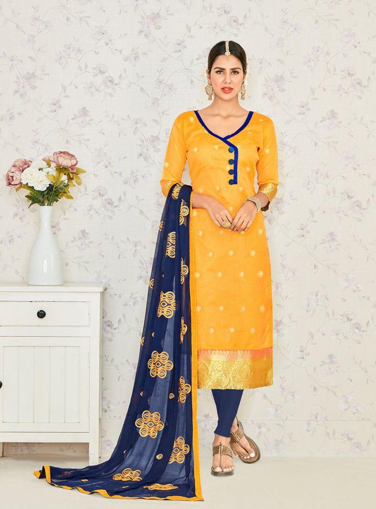 Yellow Banarasi Jacquard Churidar Salwar Kameez 79832