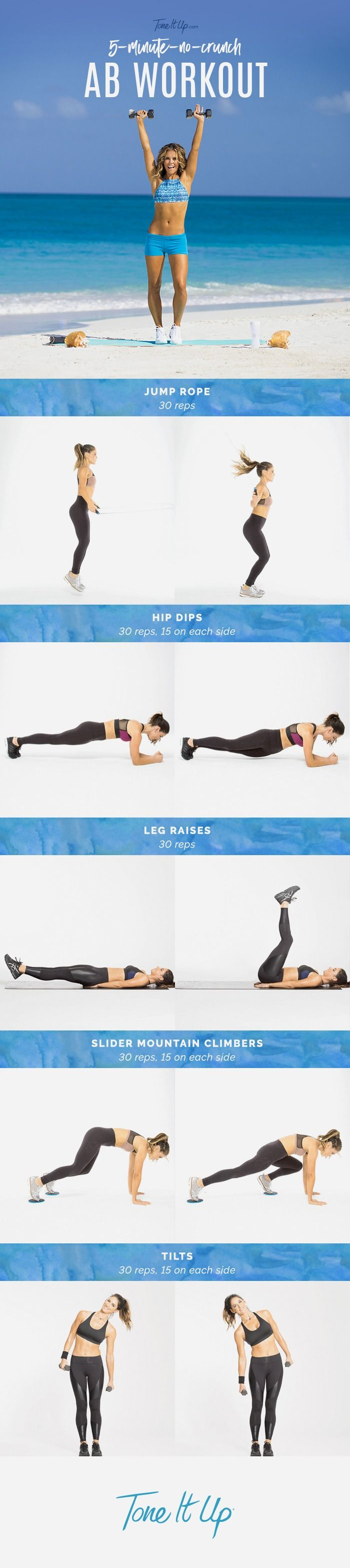We put together 5 moves (that aren't crunches!) to mix into your weekly routine that will target ALL the muscles that make up your gorgeous midsection.