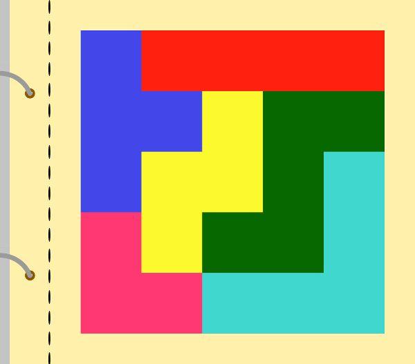 Kostičky tetris. Celý čtverec je 15 x 15 cm. Strany kostiček jsou násobky 3 cm. Např. dlouhá červená kostička je široká 3 cm a dlouhá 12 cm. Několik možností složení.