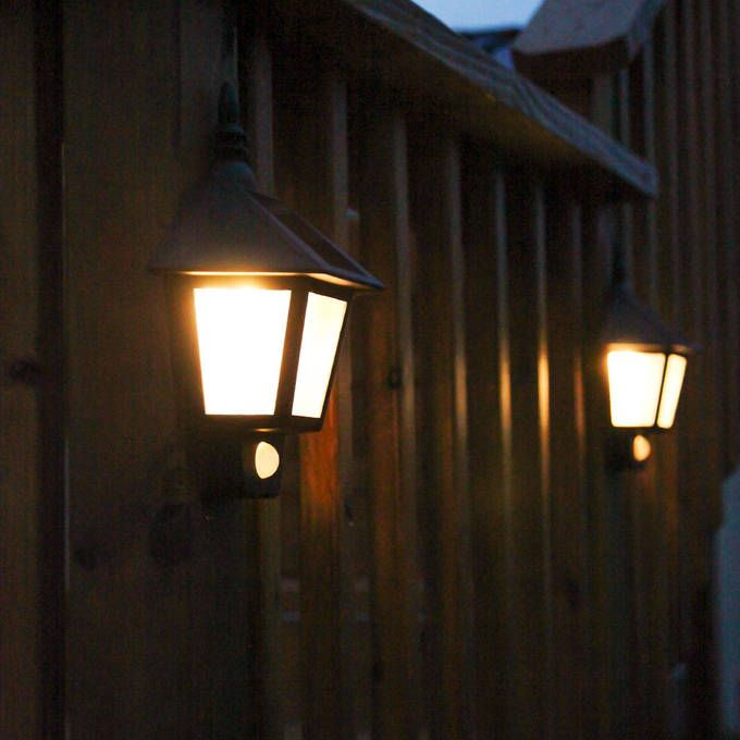 Lights.com | Outdoor | Solar | Landscape | Outdoor Warm White Solar Sconce with Motion Detection, Set of 2