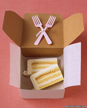 wedding cake to go for the bride & groom, midnight snack!! I got to make sure someone does this for us!!!