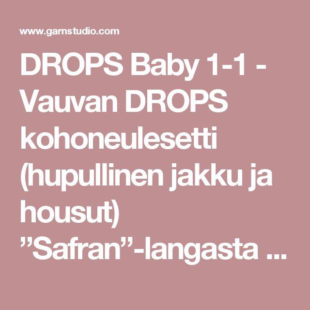 """DROPS Baby 1-1 - Vauvan DROPS kohoneulesetti (hupullinen jakku ja housut) """"Safran""""-langasta - Ilmaiset ohjeet DROPS Designilta"""