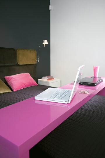 this overbed table is great in this bright pop of pink